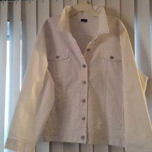 Wonderful 3X white jean jacket